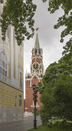 spasskaya: View of the Spasskaya Tower in Moscow Kremlin Stock Photo