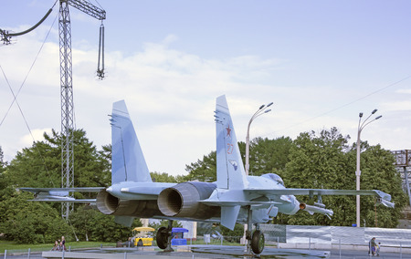 supremacy: MOSCOW; RUSSIA- JULY 13- Aircraft Su-27 fighter air supremacy on VDNH  on July 13; 2015 in Moscow Editorial