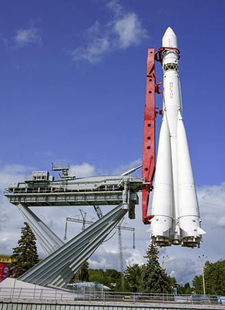 astronautics: MOSCOW; RUSSIA- JULY 13- Spaceship Vostok on VDNH  on July 13; 2015 in Moscow