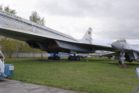 supersonic: MONINO,MOSCOW REGION,RUSSIA-OCTOBER 8-Tu-144-Supersonic passenger liner(1968).Max.speed,kmh-2500.The first supersonic passenger liner in the world on October 8;2015 in Central Museum of the Russian Air Force,Monino