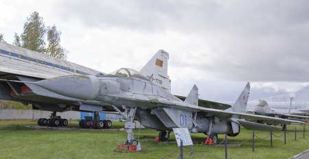 all weather: MONINO, MOSCOW REGION, RUSSIA- OCTOBER 8- MiG-29-Multipurpose fighter(1977).Max.speed,kmh-2450 on October 8; 2015 in Central Museum of the Russian Air Force, Monino Editorial