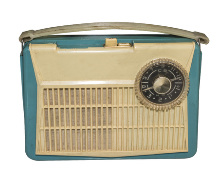 transitor: La primera radio de transistores masa Sovi�tica, 1959.Is aislado en el blanco Foto de archivo