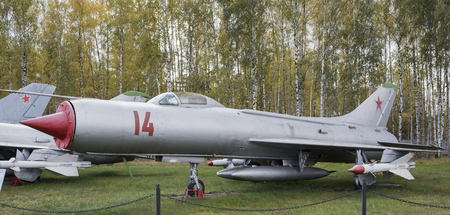 super 8: MONINO, MOSCOW REGION, RUSSIA- OCTOBER 8- Su-9-Interceptor(1956),The first special super sonic interceptor in a series.Max. speed, kmh-2120 on October 8; 2015 in Central Museum of the Russian Air Force, Monino Editorial