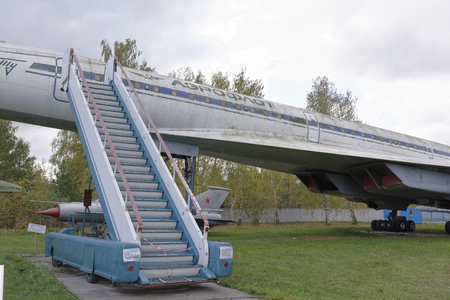supersonic: MONINO,MOSCOW REGION,RUSSIA-OCTOBER 8-Tu-144-Supersonic passenger liner(1968). The first supersonic passenger liner in the world on October 8;2015 in Central Museum of the Russian Air Force,Monino