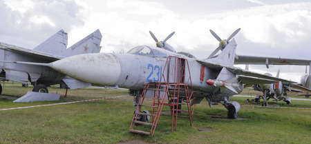 MONINO, MOSCOW REGION, RUSSIA- OCTOBER 8-  MiG-23-Multipurpose jet fighter(1967).Max.speed,kmh-2500 on October 8; 2015 in Central Museum of the Russian Air Force,Monino (Snowing)