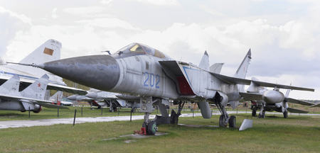 MONINO, MOSCOW REGION, RUSSIA- OCTOBER 8- MiG-31- Interceptor (1975).Max.speed,kmh-3000 on October 8; 2015 in Central Museum of the Russian Air Force, Monino