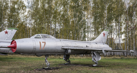 specific: MONINO, MOSCOW REGION, RUSSIA- OCTOBER 8- S-26( Su-7L)- Experimental aircraft(1963),specific feature:ski landing .Max.speed,kmh-2150 on October 8; 2015 in Central Museum of the Russian Air Force, Monino