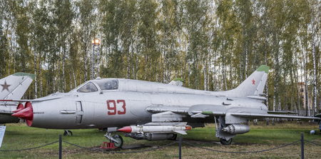 variable: MONINO, MOSCOW REGION, RUSSIA- OCTOBER 8- Su-17M3(1966), The first Soviet supersonic variable sweep wing fighter-bomber in a series.Max.speed,kmh-2100 on October 8; 2015 in Central Museum of the Russian Air Force, Monino