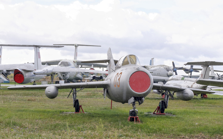 frontline: MONINO, MOSCOW REGION, RUSSIA- OCTOBER 8- MIG-15UTI- Jet training fighter(1949).Gagarin,Terechkova and other cosmonauts were trained at the museum piece on October 8; 2015 in Central Museum of the Russian Air Force, Monino