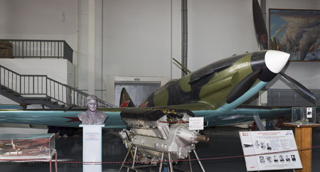 frontline: MONINO, MOSCOW REGION, RUSSIA- OCTOBER 8-  MiG-3 - Frontline Fighter (1940) .Maks. speed, km h-615 on October 8; 2015 in Central Museum of the Russian Air Force, Monino