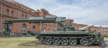 clearer: RUSSIA; SAINT-PETERSBURG - JULY 8- IMR-engineering machine obstacle clearing (1969). Weight, kg - 37,500 Performance -300 m h in military history museum on July 8;2015 in St. Petersburg