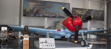 frontline: MONINO, MOSCOW REGION, RUSSIA- OCTOBER 8-  La 7 - Frontline Fighter (1944).Max. speed, km  h-680 on October 8; 2015 in Central Museum of the Russian Air Force, Monino