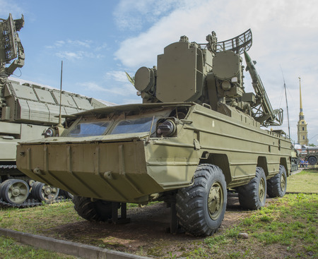 missiles: RUSSIA; SAINT-PETERSBURG - JULY 8- 9A33- Fighting vehicle (9M33 missiles) anti-aircraft missile complex 9K33 Osa (1972).Weight, kg:machine-17200, rocket-125 in military history museum on July 8;2015 in St. Petersburg Editorial