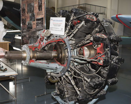 MONINO, MOSCOW REGION, RUSSIA- OCTOBER 8- ASH- 82FN- Engine Aircraft (1943) Maxi. power, hp-1850. Used in aircraft: La-5,La-7,TU-2 on October 8; 2015 in Central Museum of the Russian Air Force, Monino