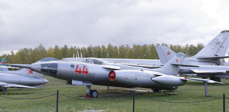 all weather: MONINO, MOSCOW REGION, RUSSIA- OCTOBER 8- Yak-28- Front bomber(1958)Max.speed,kmh-1800.The first Soviet supersonic front bomber in a series on October 8; 2015 in Central Museum of the Russian Air Force, Monino