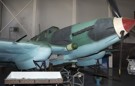 frontline: MONINO, MOSCOW REGION, RUSSIA- OCTOBER 8- Yak-9U- Frontline Fighter (1943).Max. speed,km  h-700 on October 8; 2015 in Central Museum of the Russian Air Force, Monino