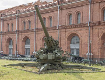 anti war: RUSSIA; SAINT-PETERSBURG - JULY 8- GMZ- KS-30 130-mm anti-aircraft gun (1952). Weight, kg: guns - 23500, shell - 33 in military history museum on July 8; 2015 in St. Petersburg Editorial