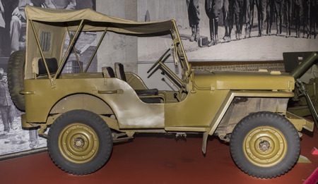 permeability: MOSCOW, RUSSIA- OCTOBER 7- MB- four-wheel drive vehicle Willys(1942). Max. speed-104 km h. Power engine-54 hp in the Central Museum of the Great Patriotic War on October 7; 2015 in Moscow
