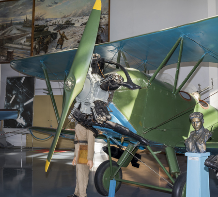 high flier: MONINO, MOSCOW REGION, RUSSIA- OCTOBER 8-  Po-2 (up to 1944 - U-2) - Night light bomber (1927) .Max. speed, km  h-145 on October 8; 2015 in Central Museum of the Russian Air Force, Monino