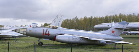 hight tech: MONINO, MOSCOW REGION, RUSSIA- OCTOBER 8- Yak-27R- Hight-speed reconnaissance aircraft(1956).Max.speed,1300kmh on October 8; 2015 in Central Museum of the Russian Air Force, Monino