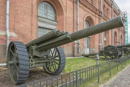 armaments: RUSSIA; SAINT-PETERSBURG - JULY 8- GMZ-  127-mm heavy field gun Armstrong system. Weight, kg: guns - 5435, shell - 27 in military history museum on July 8; 2015 in St. Petersburg Editorial