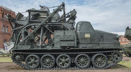 speed gun: RUSSIA; SAINT-PETERSBURG - JULY 8- BTM-Fleet trench machine (1956). Weight, kg - 26500. Performance-400 m h in military history museum on July 8;2015 in St. Petersburg