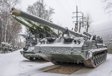 pion: MOSCOW, RUSSIA- DECEMBER 15- The record powerful artillery in the world of self-propelled 2S7 Pion (203 mm) at the Museum of technique V.Zadorozhnyj on December 15; 2015 in Moscow