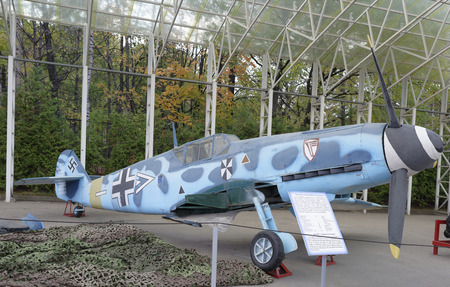 all weather: MOSCOW, RUSSIA- OCTOBER 7-  Bf.109F-2-Fighter (Germany),1939.Max.speed,kmh- 620 in the Central Museum of the Great Patriotic War on October 7; 2015 in Moscow Editorial