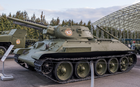 t34: MOSCOW, RUSSIA- OCTOBER 7- T-34- Medium tank (USSR) in the Central Museum of the Great Patriotic War on October 7; 2015 in Moscow