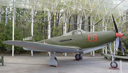 airpower: MOSCOW, RUSSIA- OCTOBER 7- P-63-  Kingcobra- Fighter (USA )  ),1943 .Max.speed,kmh- 657 in the Central Museum of the Great Patriotic War on October 7; 2015 in Moscow Editorial