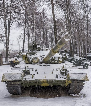 nicknamed: MOSCOW, RUSSIA-DECEMBER 15- T-80B-The worlds first serial tank with a gas turbine engine, nicknamed the flying at the Museum of technique V.Zadorozhnyj on December 15;2015 in Moscow