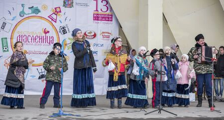 maslenitsa: ROSTOV-ON-DON, RUSSIA-MARCH 13- Speech by the childrens choir  of Maslenitsa in Gorky Park on March 13;2016 in Rostov-on-Don