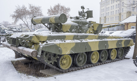 turbine engine: MOSCOW, RUSSIA-DECEMBER 15- T-80B-The worlds first serial tank with a gas turbine engine, nicknamed the flying at the Museum of technique V.Zadorozhnyj on December 15;2015 in Moscow