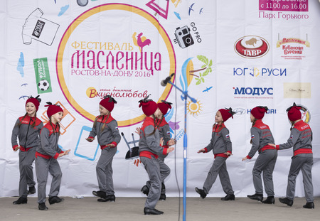 maslenitsa: ROSTOV-ON-DON, RUSSIA-MARCH 13- Performance of children dance ensemble of Maslenitsa in Gorky Park on March 13;2016 in Rostov-on-Don