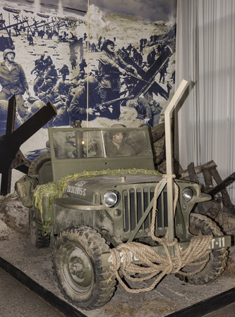 mb: MOSCOW, RUSSIA- DECEMBER 16- MB- four-wheel drive vehicle Willys (1942) at the Central Museum of the armed forces  on December 16; 2015 in Moscow Editorial