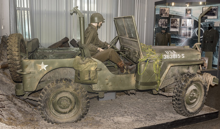 permeability: MOSCOW, RUSSIA- DECEMBER 16- MB- four-wheel drive vehicle Willys (1942) at the Central Museum of the armed forces  on December 16; 2015 in Moscow Editorial