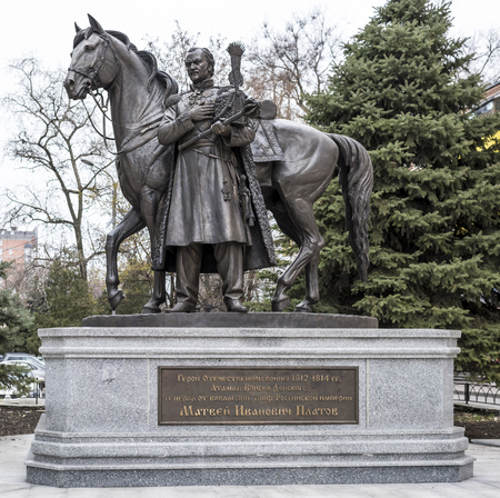 generals: ROSTOV-ON-DON, RUSSIA- NOVEMBER 29- Monument to Hero of the Patriotic War of 1812-1814 Ataman of the Don Cossacks, cavalry general, Graph of the Russian Empire M.I.Platov on November 29;2015 in Rostov-on-Don