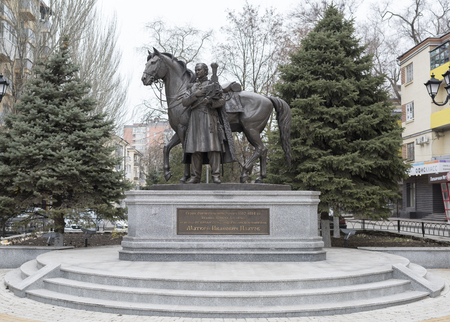 cossacks: Rostov-on-Don; Russia- November-29; 2015: Monument to Hero of the Patriotic War of 1812-1814 Ataman of the Don Cossacks, cavalry general, Graph of the Russian Empire M.I.Platov.Sculptor K.R.Chernyavsky