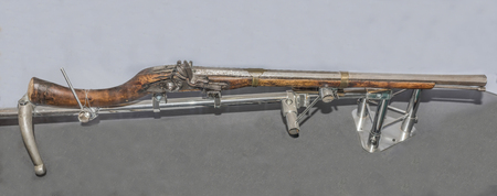 flintlock: MOSCOW, RUSSIA- DECEMBER 16- 15-mm rifled flintlock carabine with a stock of the eastern type, age 19 .Afganistan at the Central Museum of the armed forces  on December 16; 2015 in Moscow