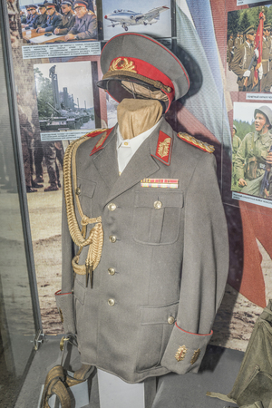 gdr: MOSCOW, RUSSIA- DECEMBER 16- Tunic, cap and front belt Lieutenant General National Peoples Army of the GDR, 1970-ies at the Central Museum of the armed forces  on December 16; 2015 in Moscow