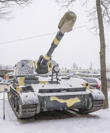 wheel barrel: MOSCOW, RUSSIA- DECEMBER 15- 9A35- 2S3- Self-propelled howitzer Acacia (1967) at the Museum of technique V.Zadorozhnyj on December 15; 2015 in Moscow (snowing)