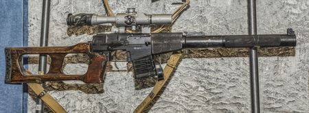noiseless: MOSCOW, RUSSIA- DECEMBER 16- 9-mm noiseless sniper rifle system Serdyukov sample 1987.Vintorez at the Central Museum of the armed forces  on December 16; 2015 in Moscow Editorial