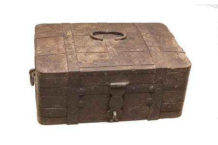 treasure trove: Old metal box of the 19th century. Is isolated on white Stock Photo