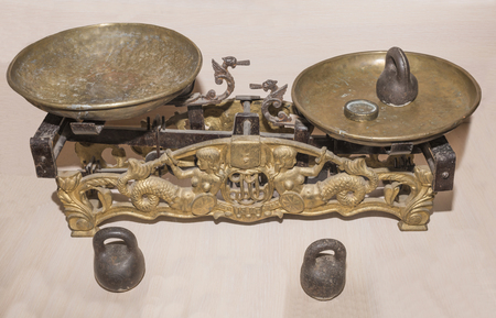 Vintage scales with weights, 18th century