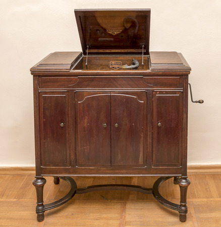 phonograph: STAROCHERKASSKAYA,ROSTOV REGION, RUSSIA- SEPTEMBER 27- Viktrola- phonograph, the first half of the 19th century , in Museum-Reserve, in September 27, 2015 in Starocherkasskaya