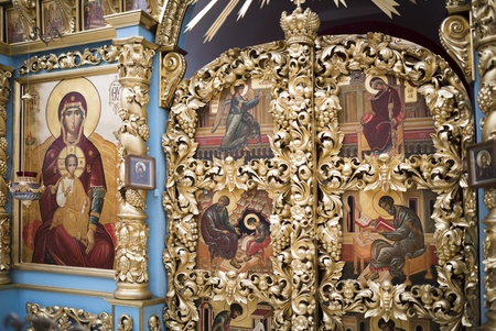 high priest: STAROCHERKASSKAYA,ROSTOV REGION, RUSSIA- SEPTEMBER 27- The interior the temple of the Don icon of the Mother of God, in Museum-Reserve, in September 27, 2015 in Starocherkasskaya