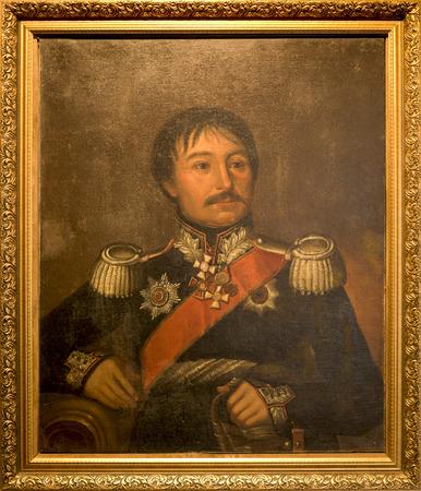 unknown men: STAROCHERKASSKAYA,ROSTOV REGION, RUSSIA- SEPTEMBER 27-  Vintage painted portrait of Lieutenant-General A.A. Karpov. Unknown artist, 1911, in Museum-Reserve, in September 27, 2015 in Starocherkasskaya Editorial