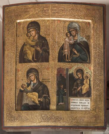 iconography: STAROCHERKASSKAYA,ROSTOV REGION, RUSSIA- SEPTEMBER 27- Ancient icons, 19th century, in Museum-Reserve, in September 27, 2015 in Starocherkasskaya Editorial