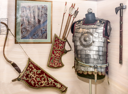 17th: STAROCHERKASSKAYA,ROSTOV REGION, RUSSIA- SEPTEMBER 27- Russian arms warrior local cavalry - the beginning of the 17th century, in Museum-Reserve, in September 27, 2015 in Starocherkasskaya