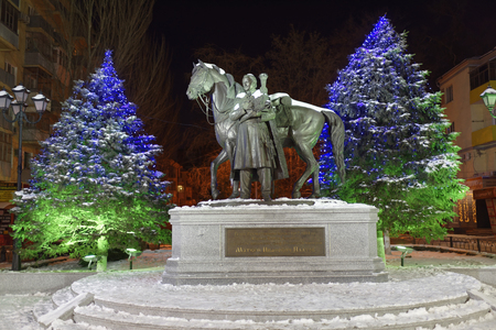 cossacks: ROSTOV-ON-DON, RUSSIA- JANUARY 01- Monument to Hero of the Patriotic War of 1812-1814 Ataman of the Don Cossacks, cavalry general, Graph of the Russian Empire M.I.Platov on January 01;2016 in Rostov-on-Don